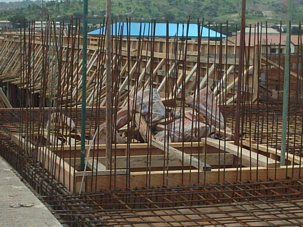 A view of the elevator shaft still under construction