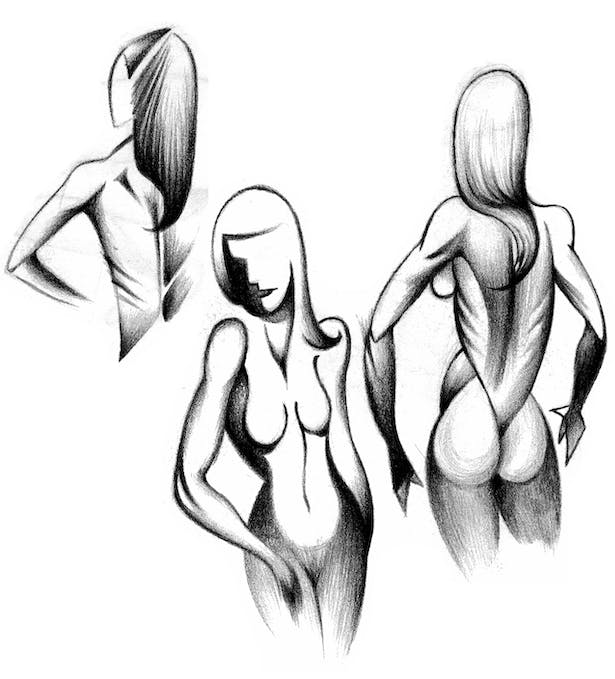 This piece is an abstract rendering of models posing drawn with a black colored pencil.