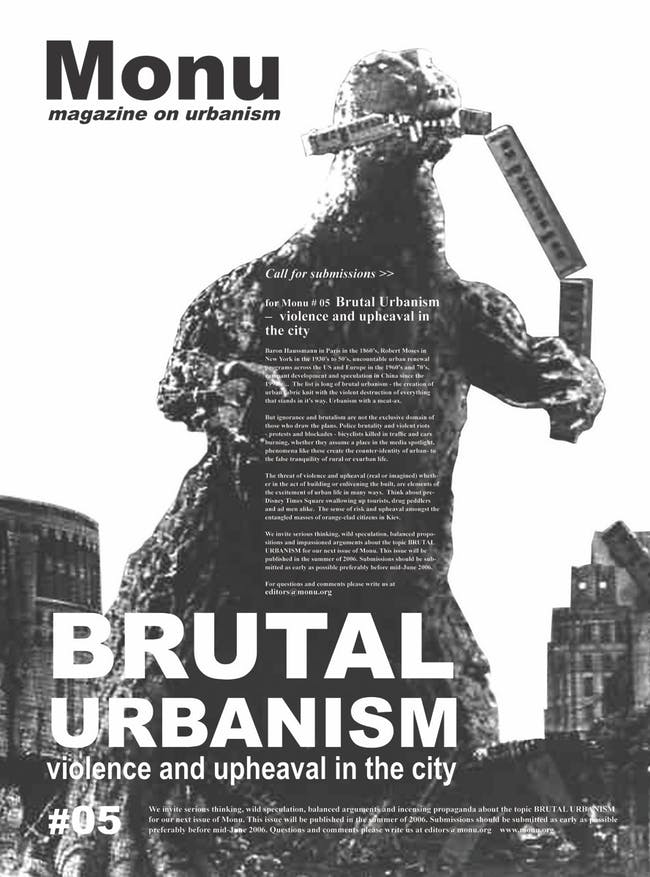 Godzilla versus the City in the call for submissions for MONU #05 Brutal Urbanism: Violence and Upheaval in the City. Poster © MONU