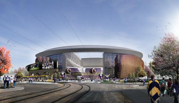 Tailgating area view into stadium