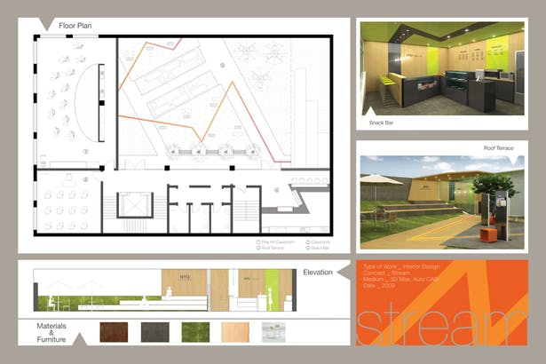 ROOF w/ cafe, roof garden with exhibition & classrooms