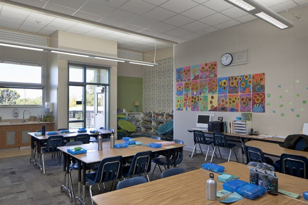 Classroom with reading nook has natural daylight, fresh air ventilation.