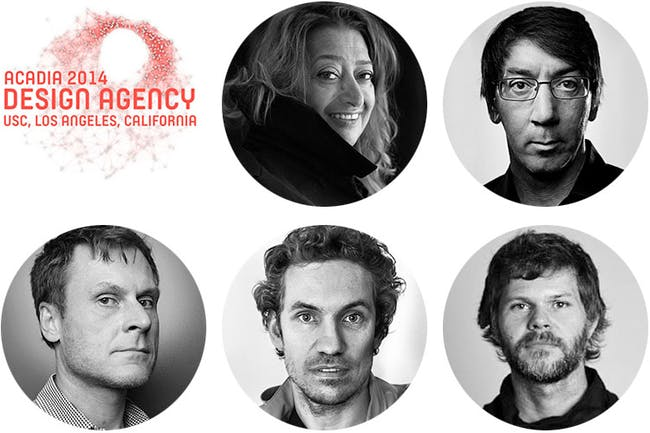 Zaha Hadid among keynote speakers at ACADIA 2014: DESIGN AGENCY – Registration now open: Confirmed keynote speakers at ACADIA2014: DESIGN AGENCY conference at the USC School of Architecture in Los Angeles: Zaha Hadid; Will Wright; Casey Reas; Marc Fornes; Greg Otto (clockwise from top center). Image courtesy of ACADIA2014