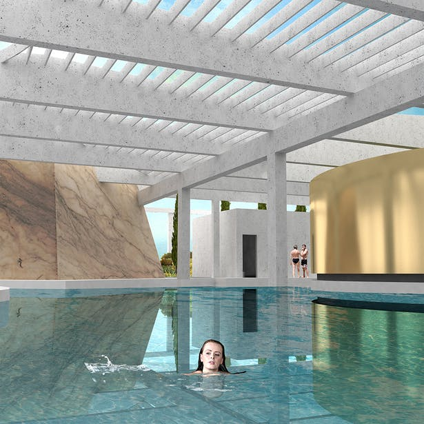 The Soak: A pool that serves as the datum that ties the experiences together and as a cleanse between sensory experiences.