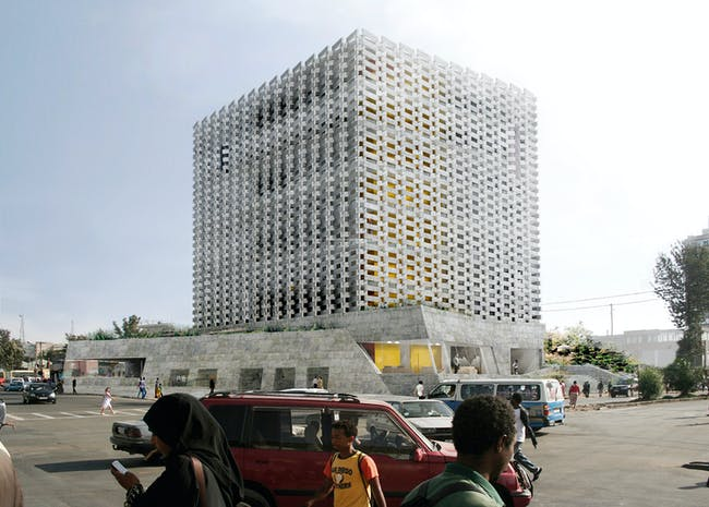 ACKNOWLEDGEMENT PRIZE - 'Weaving Publicness: Socially-integrated office building with sustainable façade', Addis Ababa, Ethiopia. AUTHORS: Ken De Cooman and Wes Degreef, BC architects, Brussels, Belgium; Adeyabeba Tadesse Hailemariam, ABBA architects, Addis Ababa, Ethiopia.