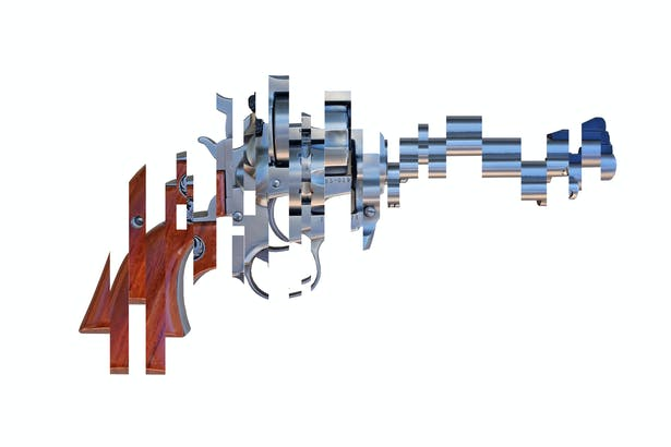 Deconstructed 22 pistol