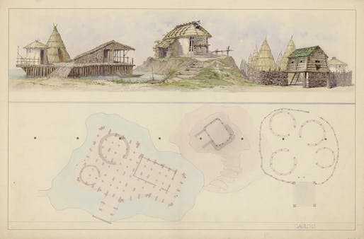 Charles Garnier, Preparatory Watercolor of the Waterside, Iron Age, and German dwellings for History of Human Habitations, ca. 1888, Paris, France. Courtesy of the Bibliothèque nationale de France.