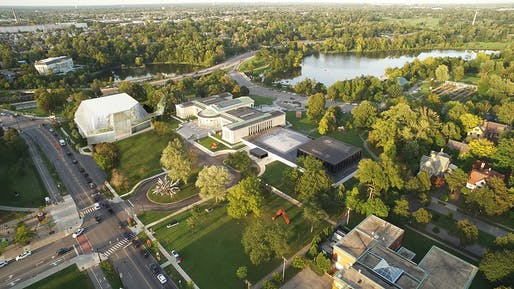 Aerial rendering of the expanded Albright-Knox campus in Buffalo. Image courtesy Albright-Knox Art Gallery.