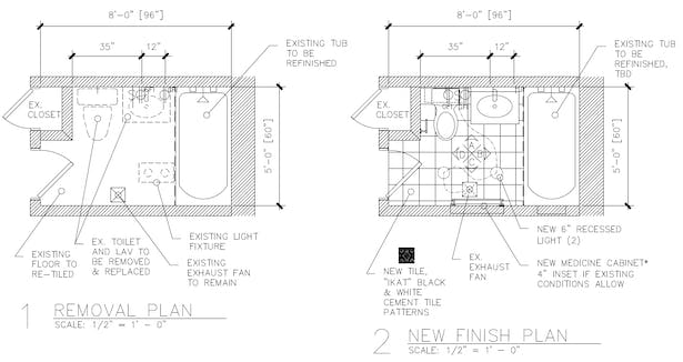 Floor plan layouts detail out existing and proposed features.