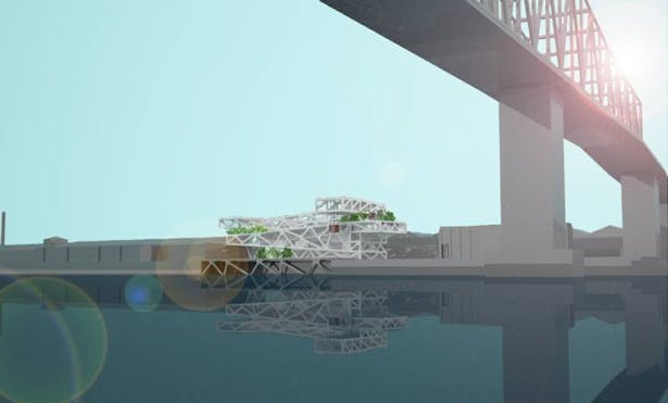 Exterior Rendering from Mississippi River