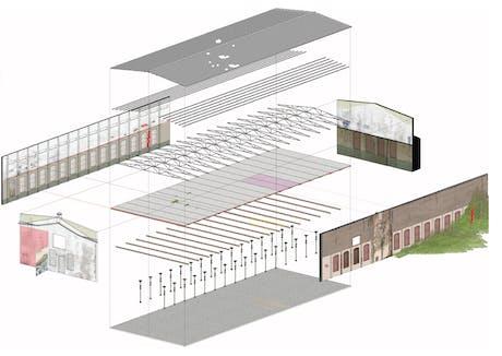 Axonometric view for factory refurbishment