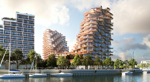 Looking northeast to The Waves at Bayside. Credit: 3XN.