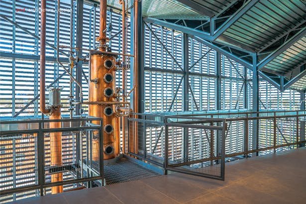Gates provides easy access to the still for the distillery team at every level.