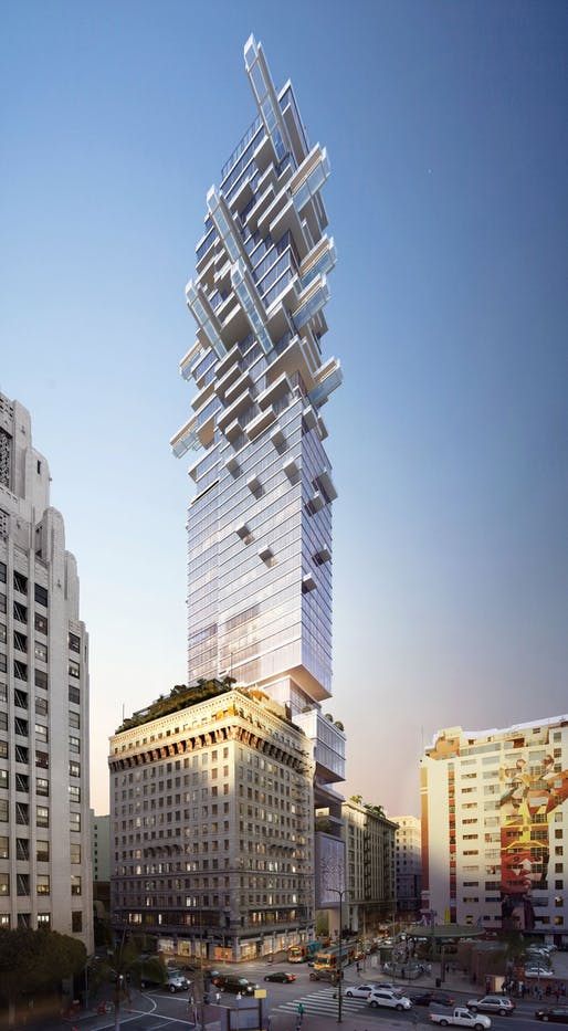Rendering of the proposed 5th and Hill mixed-use tower by JMF Development Co. Image courtesy of Arquitectonica.