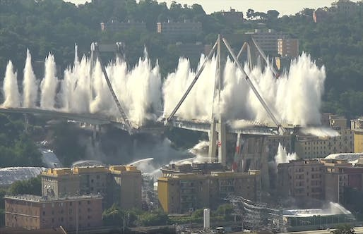 The remaining stumps of the doomed Morandi Bridge came down within seconds this morning.