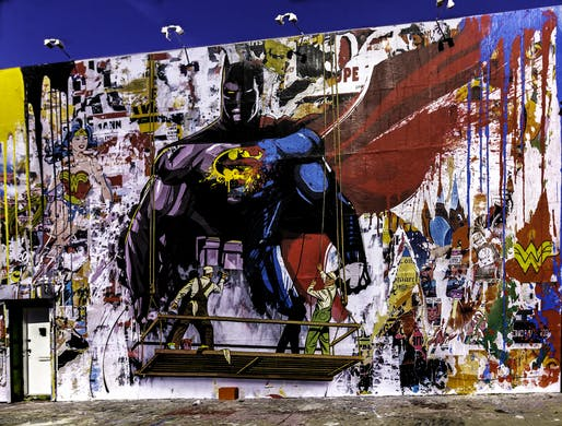 Street Art Batman V Superman by Mr. Brainwash. Image via flickr user Karen Borter.