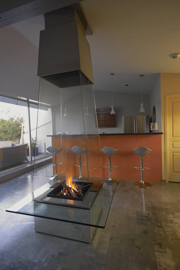 Bloch Design suspended glass fireplace 3