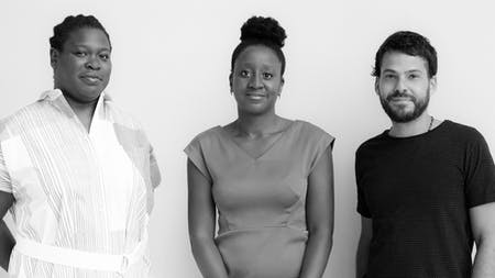 Left to Right: Sepake Angiama, Yesomi Umolu, and Paulo Tavares. Image courtesy of Chicago Architecture Biennial / Zachary Johnston.