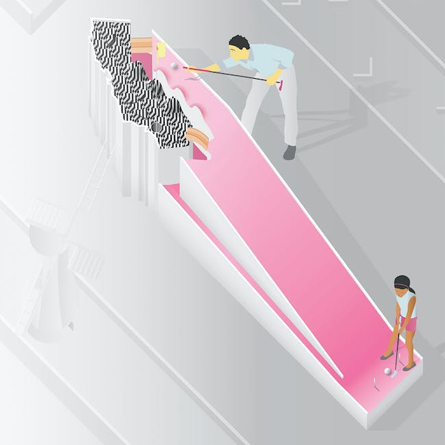'club LA' by Andrea Kamilaris, Brian Koehler, Drew Stanley - one of the TURF: A Mini-Golf Project competition winners. Image courtesy Materials & Applications.
