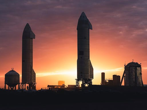 "Prototypes of SpaceX's Starship systems at the company site in Cameron County, Texas. Image: SpaceX/<a href=""https://www.instagram.com/p/CK2qqEUFNsT/"">Instagram</a>"