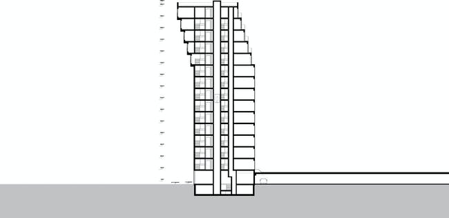 """Section drawing of B05 """"Kuifje"""" by NL Architects in Nieuw Crooswijk, Rotterdam. Image: NL Architects"""