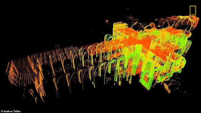 3D scanned data of Notre Dame Cathedral gathered by the late architecture historian and Vassar Art Professor Andrew Tallon. Image © Andrew Tallon