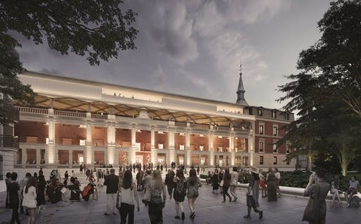 """Previously on Archinect: <a href=""""https://archinect.com/news/article/149980496/first-glimpse-of-foster-partners-and-rubio-arquitectura-s-museo-del-prado-expansion-scheme"""">First glimpse of Foster + Partners and Rubio Arquitectura's Museo del Prado expansion scheme</a>. Image courtesy Foster + Partners"""
