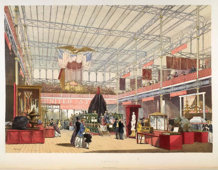 View of the 1851 American Display at the Great Exhibition in London.
