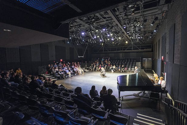 The 3,500-square-foot opera studio, acoustically isolated from other program spaces, can be tuned for different sized groups and various functions. Seating is entirely flexible. Adjustable platforms allow the room to be arranged in alternate configurations. Photo credit: Peter Vanderwarker