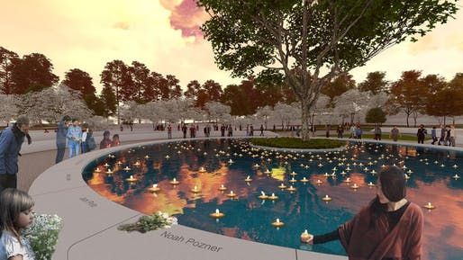 Rendering of the Sandy Hook Memorial reflecting pool by SWA Group. Credit: SWA Group via Hartford Courant.