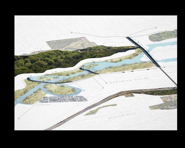 Duwamish Crossings: Axon Collage - Proposal (Wittman Estes)