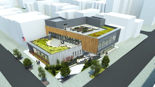 Concept rendering of the new Greenpoint Library and Environmental Education Center, designed by Brooklyn-based Marble Fairbanks and currently under construction. Image courtesy of Marble Fairbanks.