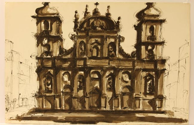 Drawing of San Pietro church in Frascati, Italy from 1961 by Michael Graves. Image from the Estate of Michael Graves via the Princeton University Art Museum