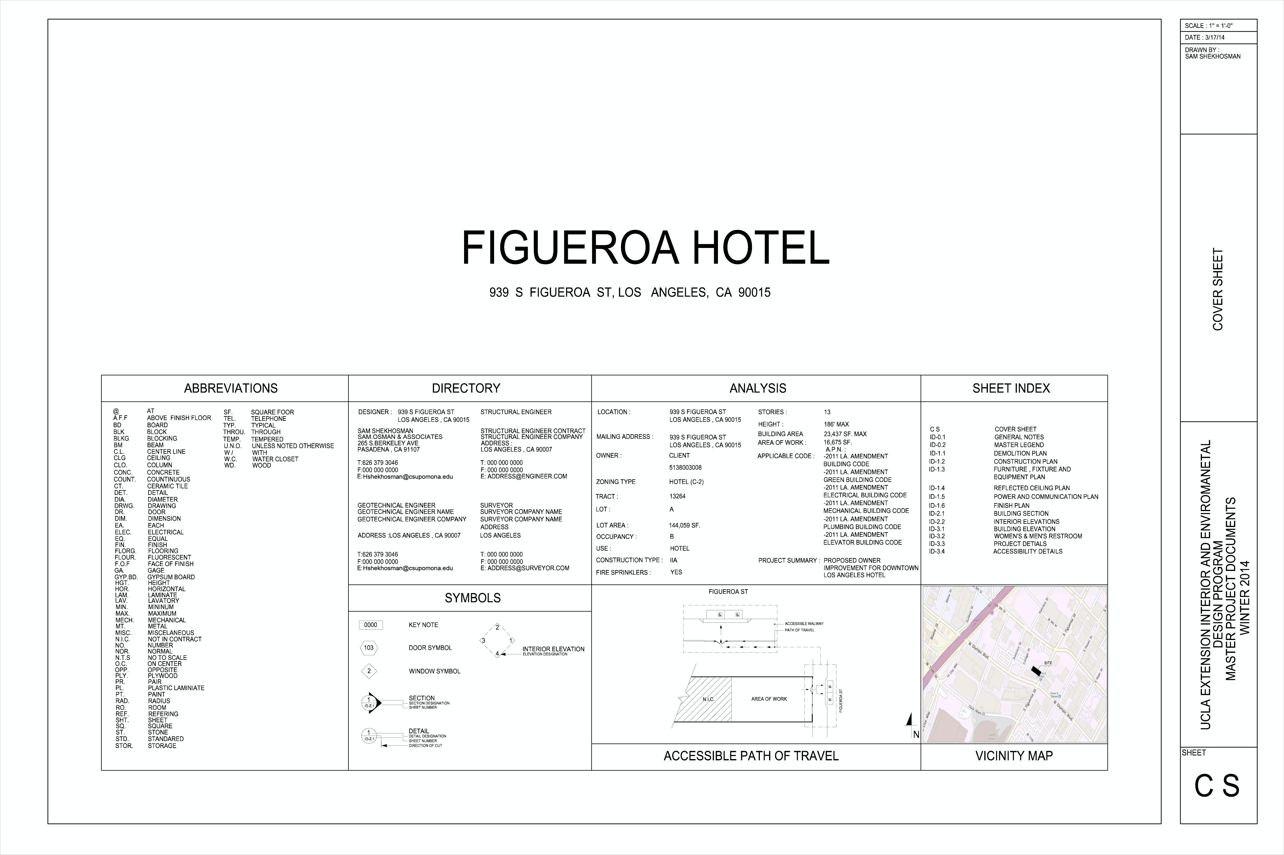 Figueroa Hotel Construction Documents Sheets (Downtown Los Angeles ...