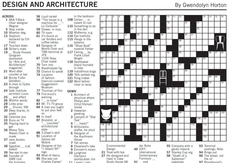 Dwr Teams Up With Nyt For The Design And Architecture Crossword