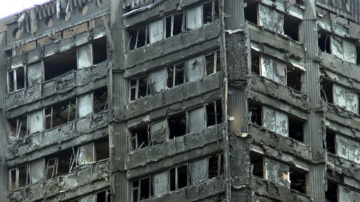 Scorched upper portion of Grenfell Tower, after the tragic fire on June 14, 2017. Photo: ChiralJon; Image via Wikipedia.