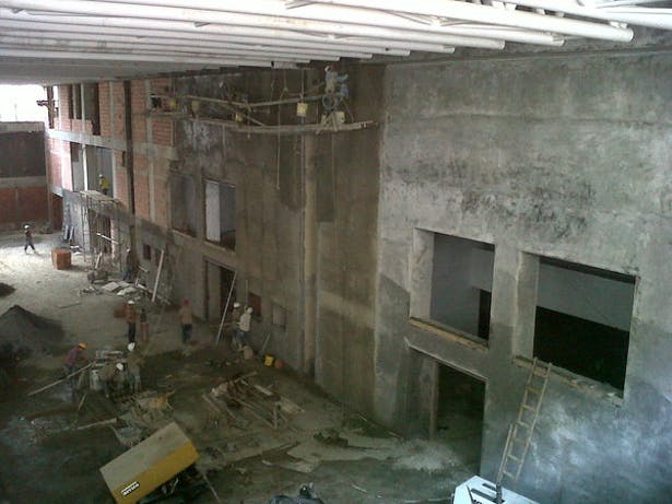 Gym under construction, west wall elevation