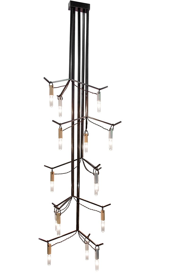 cylinder series – chandelier : concrete & wood cylindrical sockets, fabric covered wires & powder-coated steel.