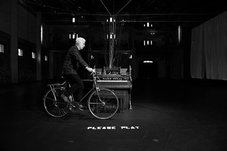 David with bike and organ at Aria, Minneapolis, MN 2012. Image via davidbyrne.com.