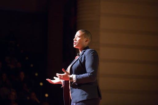 Kimberly Dowdell speaking at TEDxDetroit. Image via TEDxDetroit