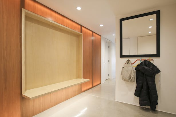 Backlit Glowing Wall in Mudroom Entry