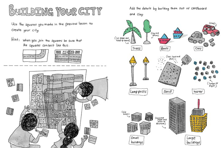 'Building your city' lesson. Illustration by Irushi Tennekoon. Images and lesson plan © Ranitri Weerasuriya