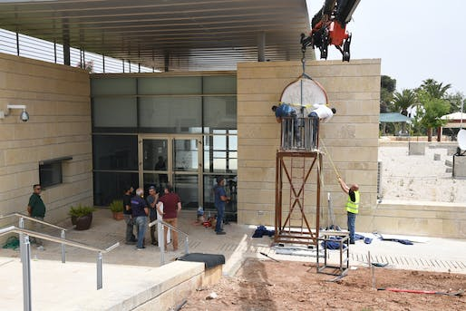 Preparations for the opening ceremony in May 2018. Photo: U.S. Embassy Jerusalem/Flickr