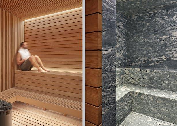 Cellar level spa- custom sauna, steam room