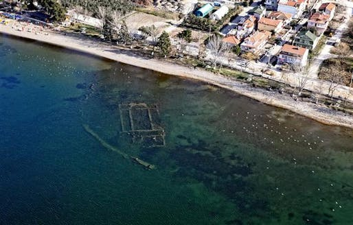 Named as one of top 10 discoveries of 2014 by the Archaeological Institute of America: the Byzantine-era basilica in a lake in Turkey's Bursa province. (Photo: DHA; Image via hurriyetdailynews.com)