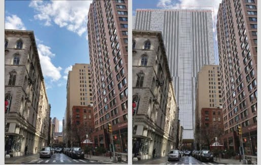 Before and after views showing one of the proposed jail complexes. Renderings Courtesy the New York City Department of Correction.