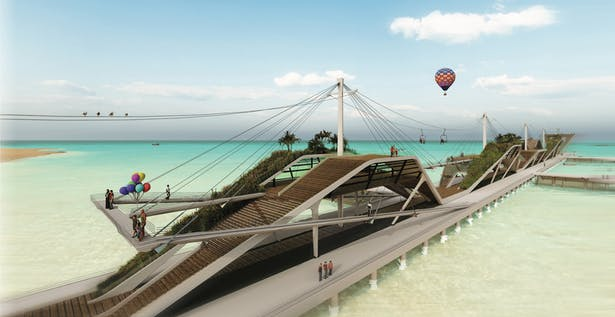 The wavy form of the longitudinal section of the pier plays a role in creating such dynamism. Despite variable heights, even the physically disabled people can reach every corner of the dock, by taking chairlifts, ramps or elevators.