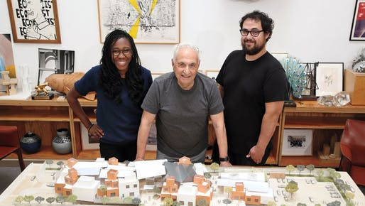 Frank Gehry — here with Gehry Partners architects Precious Aiyeloja and his son Sam — proudly presenting a model of the proposed 50,000-square-foot campus for the Children's Institute in the Watts neighborhood of Los Angeles. (Photo: Glenn Marzano / courtesy of Children's Institute, Inc...