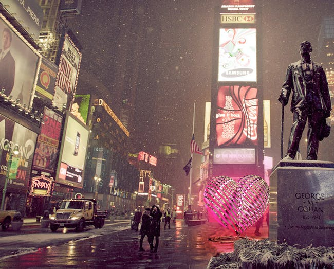 Schaum/Shieh Architects - My Fuzzy Valentine. Finalist entry for 2014 Times Square Heart Design.
