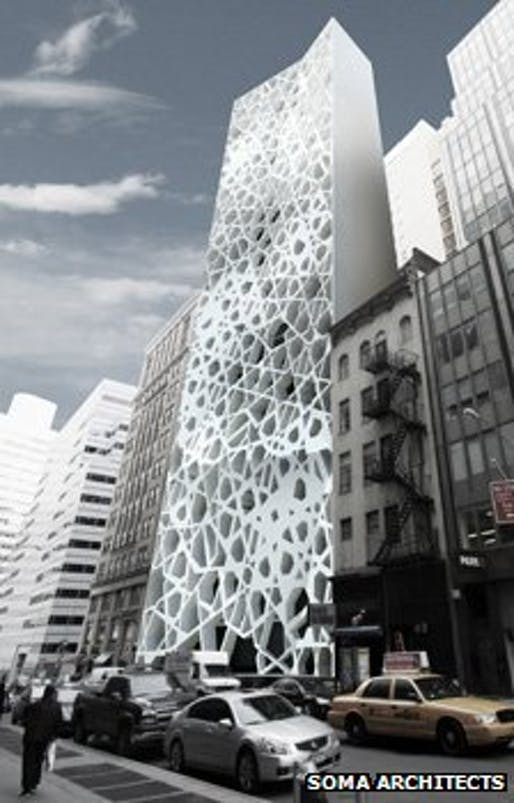 A proposed Islamic centre in Manhattan blends in amid skyscrapers